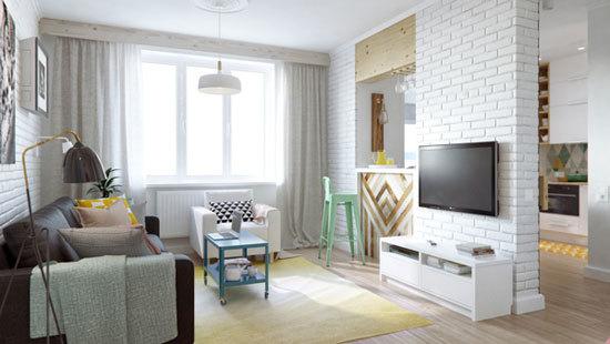 Белая кирпичная стена в гостиной, спальне и кухне